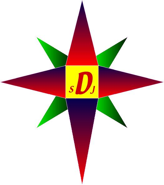 A Red and Green Compass Rose, logo for the Compass DeRose Guide Series.